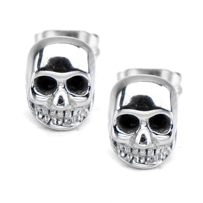 Polished Steel Skull Stud Earrings