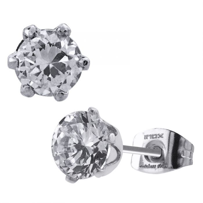 Stainless Steel Clear CZ Stud Earrings