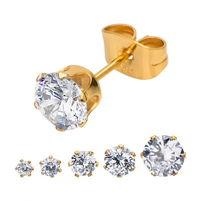 Gold Plated Steel with Clear CZ Stud Earrings