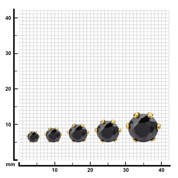 Gold Plated Steel with Black CZ Stud Earrings