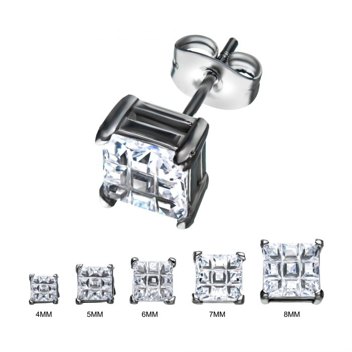 Stainless Steel Hashtag CZ Square Cut Studs