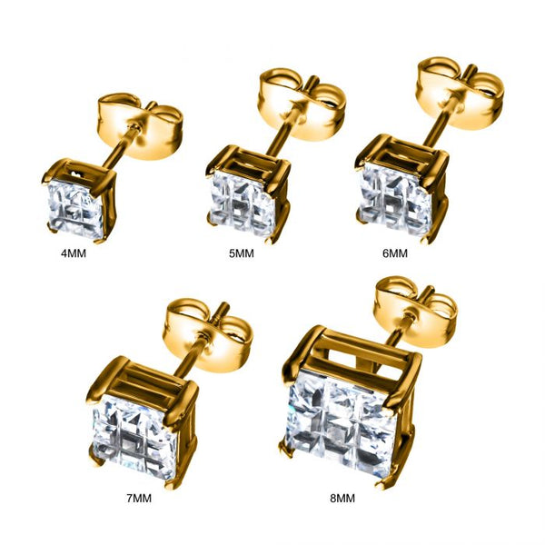 Gold Plated Steel Hashtag CZ Square Cut Studs