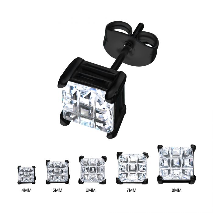 Black Steel Hashtag CZ Square Cut Studs