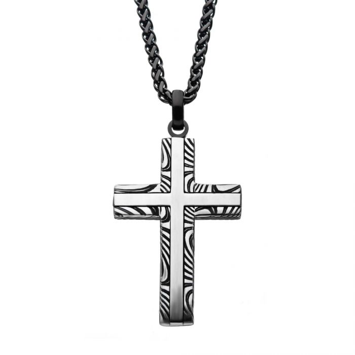 "Stainless Steel Damascus Cross Pendant w/ 24"" Black Round Wheat Chain"