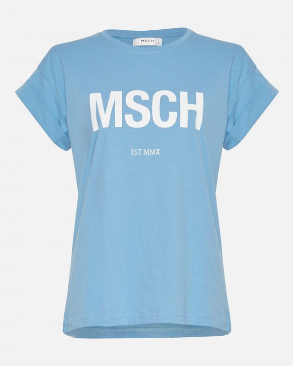 Alva MSCH t-shirt lake blue/white - MSCH