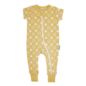 Organic '2-Way' Zip Romper - Sunshine