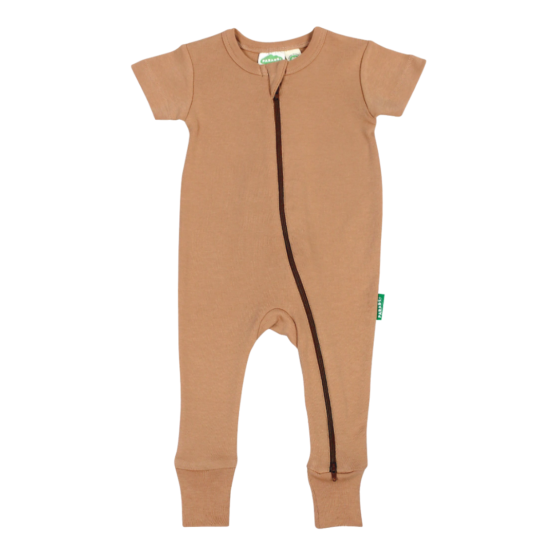 Organic '2-Way' Zip Romper - Toast