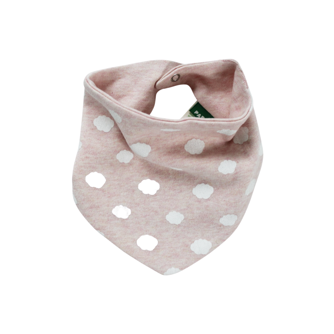 Organic Bandana Bib - Little Clouds Pink