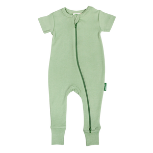 Organic '2-Way- Zip Romper - Aloe