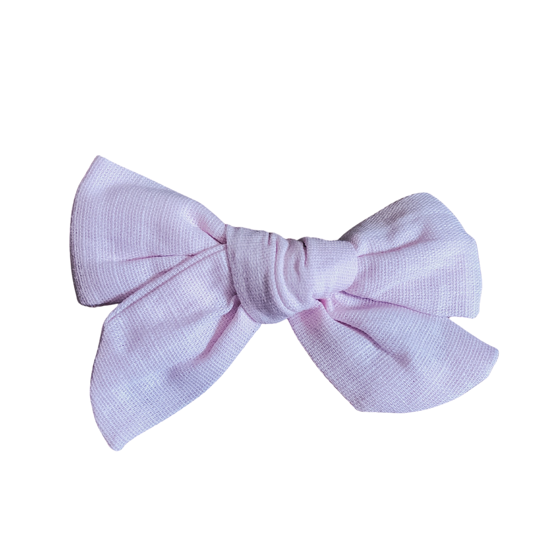 Pink Linen Bow Clip