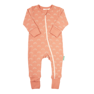 Organic '2-Way' Zip Romper - Peach Rainbows