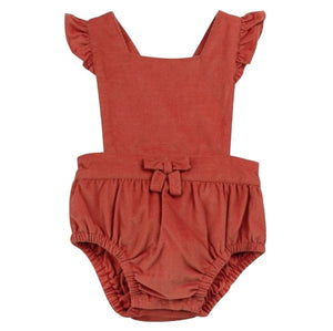 Apricot Babycord Romper with Flutter Sleeves