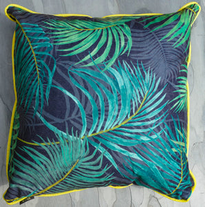 Scarlett Scatter Cushion Palm Aqua piped Farren Yellow 50cm x 50cm WP