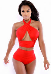 The Classique Rouge Wrap Swimsuit