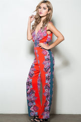 PRINTED LOW V NECK SMOCKED WAIST JUMPSUIT