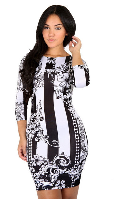 Black and White Sublimation Dress