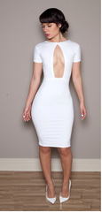 White BodyCon Keyhole Short Sleeve Dress