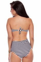 Navy and White Stripe Two Pieces Swimsuit