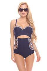 Navy Floral One Piece Swimsuit