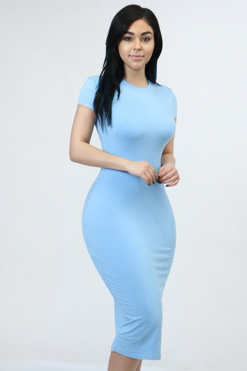 Solid Color Midi Dress