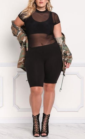 Plus Size High Rise Biker Shorts