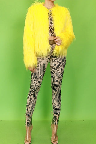 YELLOW FUR JACKET
