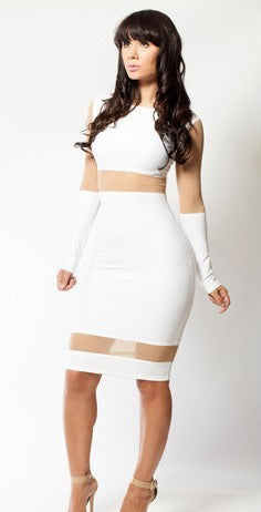 White Long Sleeve Body Con Dress