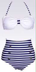 High waist  Stripe Bikini Swimsuit