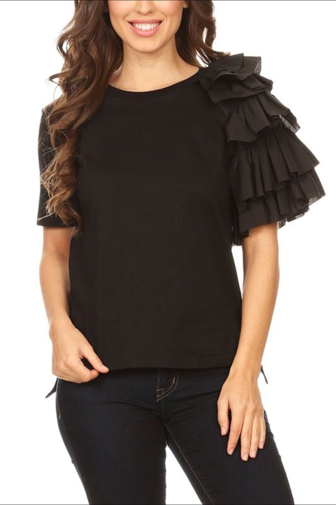 ONE SIDE RUFFLE T-SHIRT