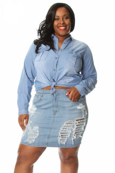 Plus Size Long Sleeve Washed Denim Button Up