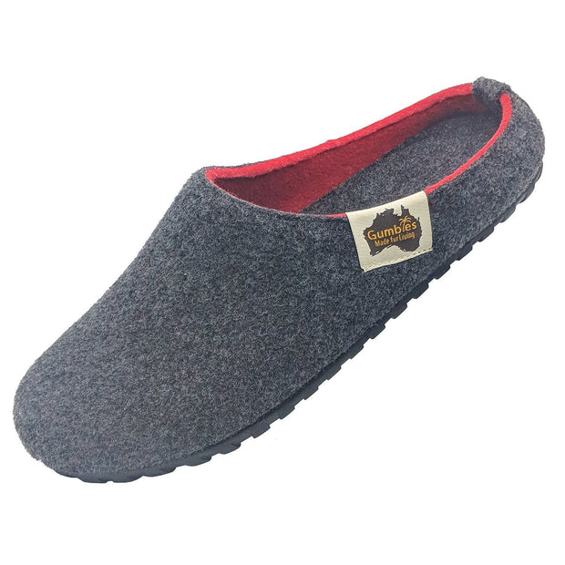 Outback Slipper - Charcoal & Red