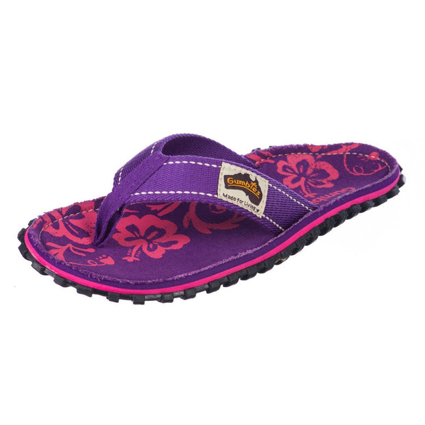 Gumbies - Islander Canvas Flip-Flops Purple Hibiscus Image 2