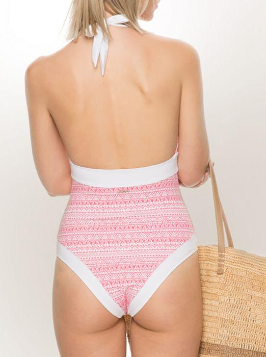 Halter Neck Swimsuit with Tummy Control - Maya Bay - Jag London