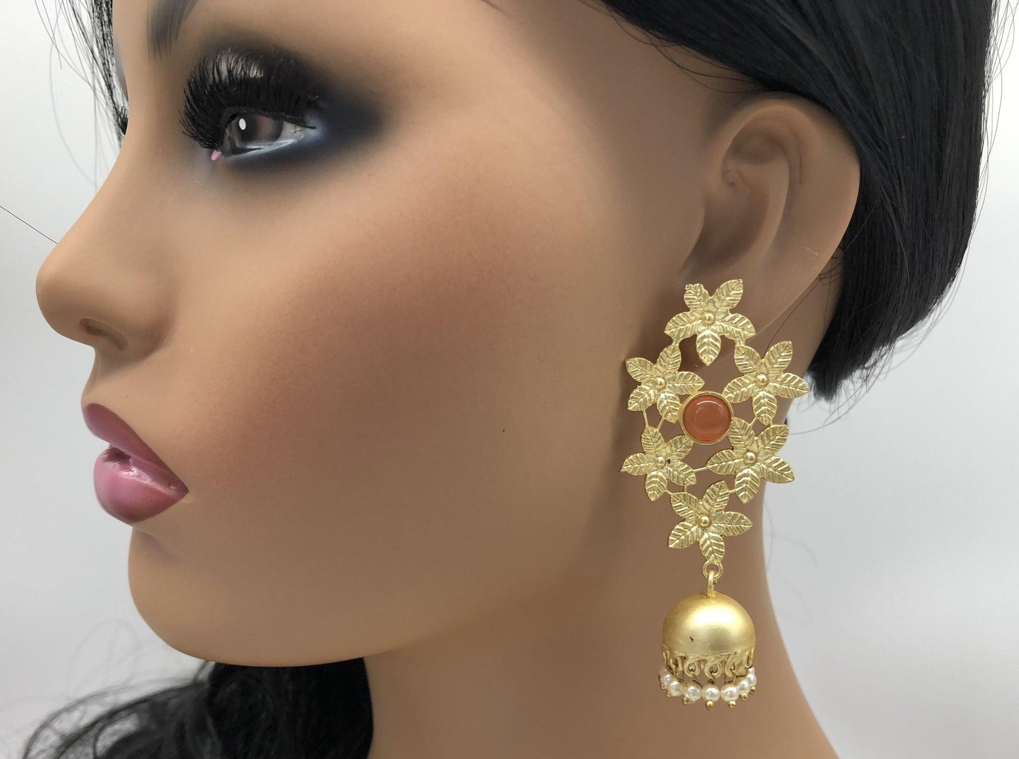 Matte Gold Flower Orange Stone Jhumka Earrings