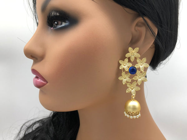 Flower Earrings with Blue Stone in Matte Gold