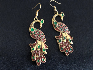 Traditional Peacock Earrings in Maroon Meenakari