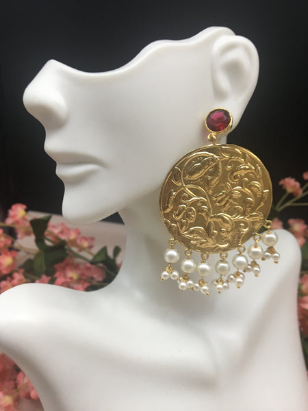Matte Gold Handcarved Chandbali with Pearl Beads