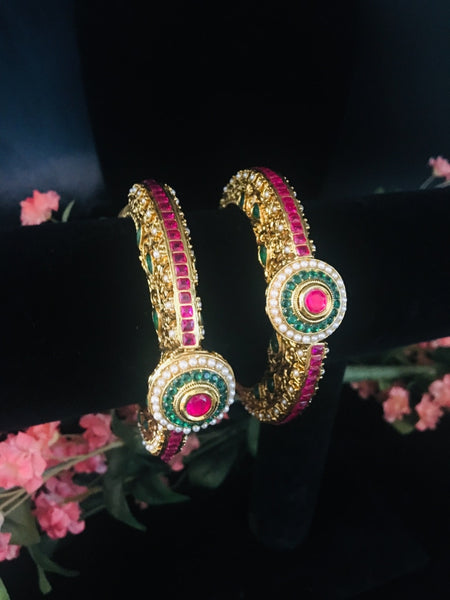 Gogru Style Kundan Bangles With Meenakari And Ruby Emerald Stones