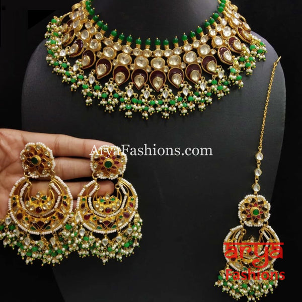 Peacock Theme Emerald Kundan Bridal Necklace