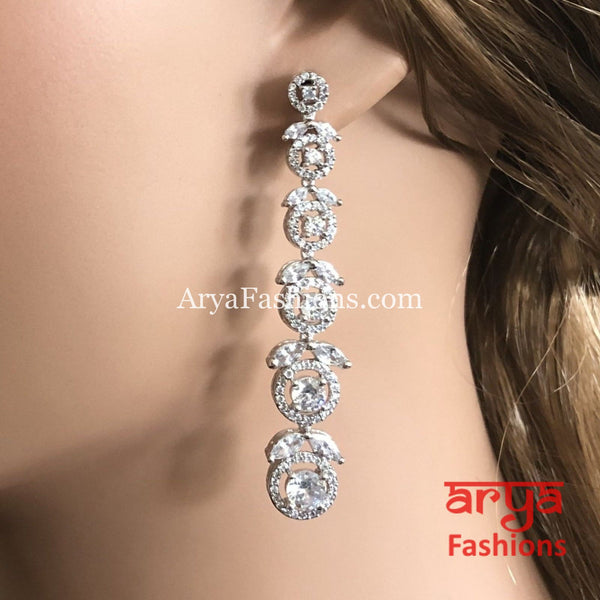 Silver Cubic Zirconia Party earrings CZ Earrings