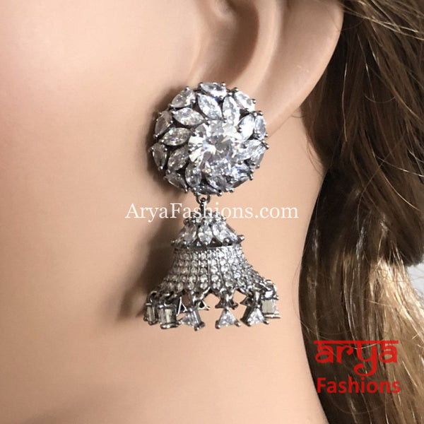 Silver Cubic Zirconia Round Jhumka Earrings CZ