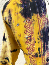 Load image into Gallery viewer, Tie and dye silk yellow kimono