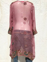 Load image into Gallery viewer, Silver and pink silk kimono