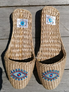 Straw Slippers Eye see you