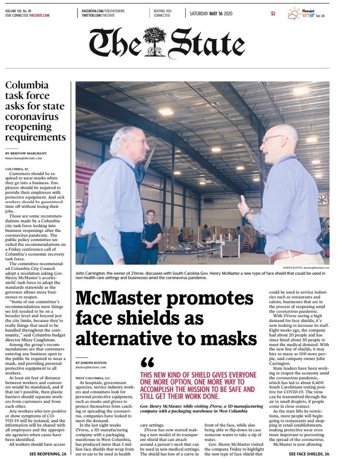 McMaster highlights face shields in West Columbia visit to 3D manufacturing company