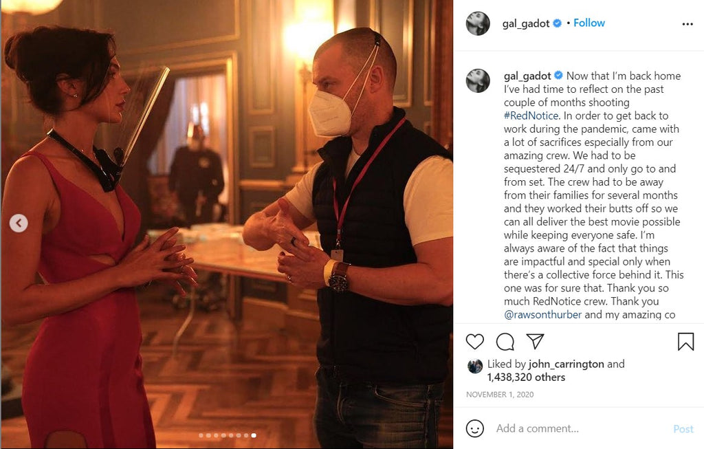 Gal Gadot working hard on Red Notice in her shield