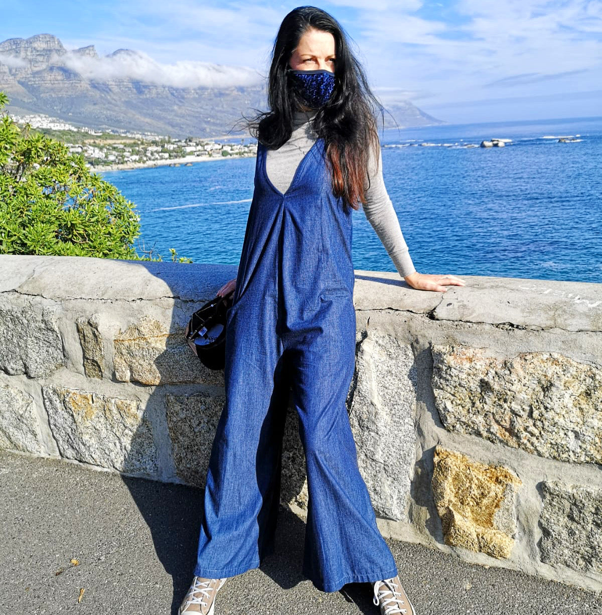 Denim V-Neck Jumpsuit