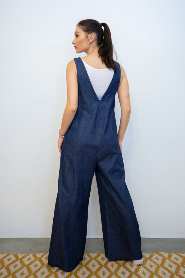 Denim Suiting Jumpsuits with Side Seam Pockets back view