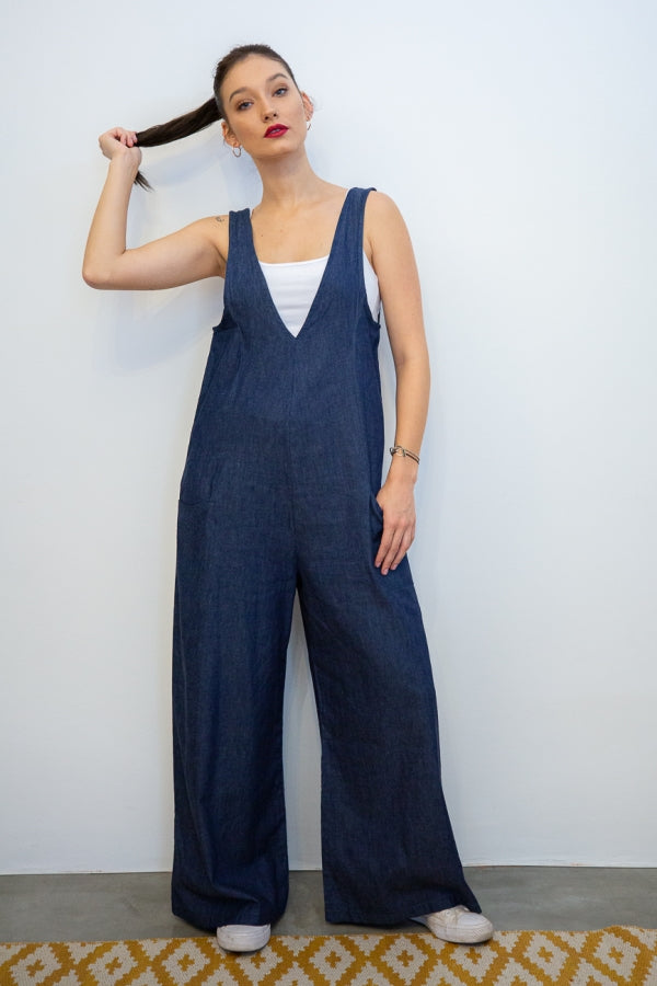 Denim Suiting Jumpsuits with Side Seam Pockets front view