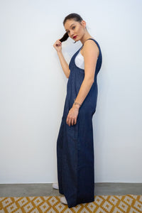 Denim Suiting Jumpsuits with Side Seam Pockets side view